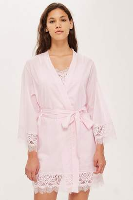 Topshop Premium Cotton and Lace Robe