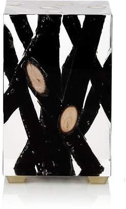 Bleu Nature Kisimi Burnt Driftwood-Inset Acrylic Objet d'Art