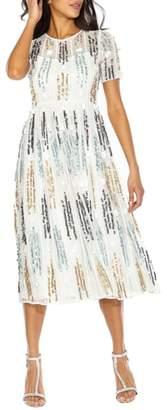 LACE & BEADS Crichet Sequin Midi Dress