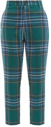 Vivienne Westwood James Bond Tartan Wool Straight Leg Trousers - Womens - Green Multi