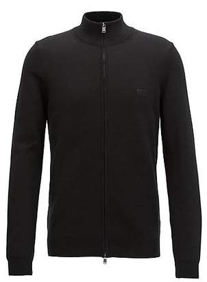 HUGO BOSS Knitted zip-through sweater in Egyptian cotton