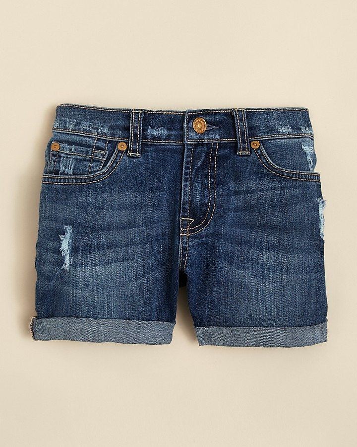 7 For All Mankind Girls' Distressed Cuff Shorts - Sizes 4-6X