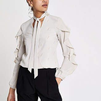 River Island Cream frill detail blouse