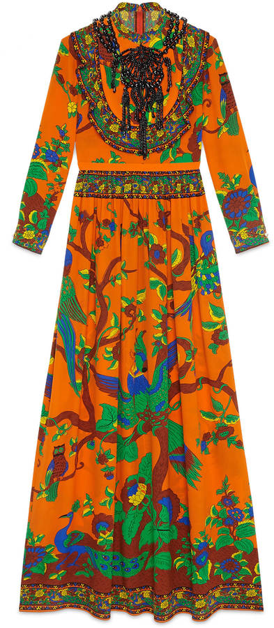 GucciJubilee print silk gown