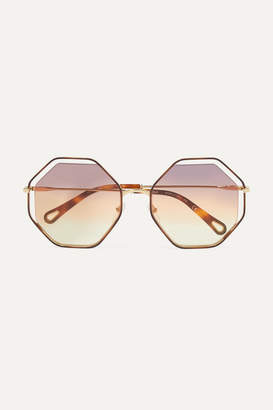 Chloé Poppy Octagon-frame Gold-tone And Tortoiseshell Acetate Sunglasses - Brown