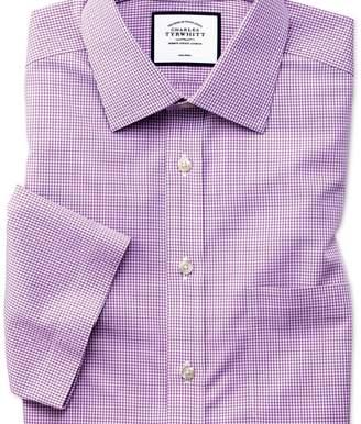 Charles Tyrwhitt Classic fit non-iron natural cool short sleeve pink check shirt