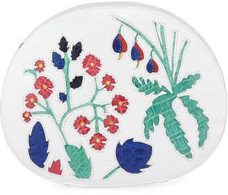 Nancy Gonzalez Jade Circle Box Clutch Bag with Floral Inlay