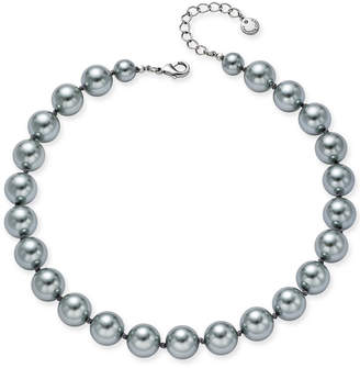 Charter Club Silver-Tone Cubic Zirconia & Gray Imitation Pearl Collar Necklace, Created for Macy's