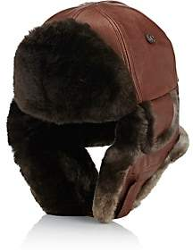 Crown Cap MEN'S AVIATOR TRAPPER HAT-BROWN SIZE M