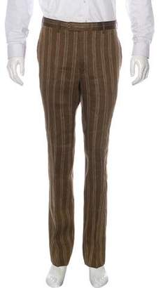 Hermes Linen-Blend Striped Pants
