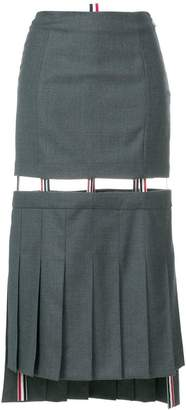 Thom Browne Detachable Low-Slung Pleated Skirt In Solid Wool Twill