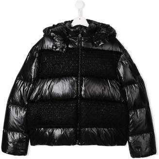 Moncler TEEN contrast panel padded coat