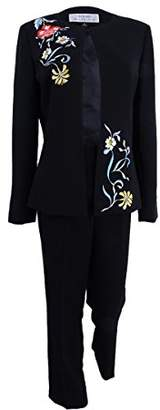Tahari by Arthur S. Levine Women's Plus Size Crepe Pant Suit with Floral Embroidery On Jacket