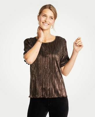 Ann Taylor Petite Metallic Pleated Knit Tee
