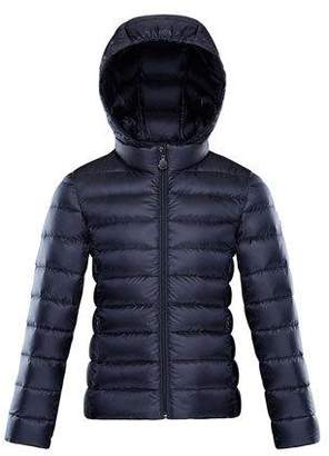Moncler Iraida Hooded Lightweight Down Puffer Jacket, Navy, Size 4-6