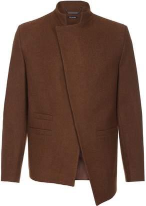He & DeFeber - Brown Asymmetrical Front Wool Jacket