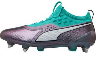 9e837420abf Puma Mens One 1 World Cup Leather MX SG Football Boots Colour Shift Biscay  Green