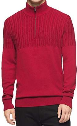 Calvin Klein Men's Quarter Zip Boucle Cable Mock Neck Sweater