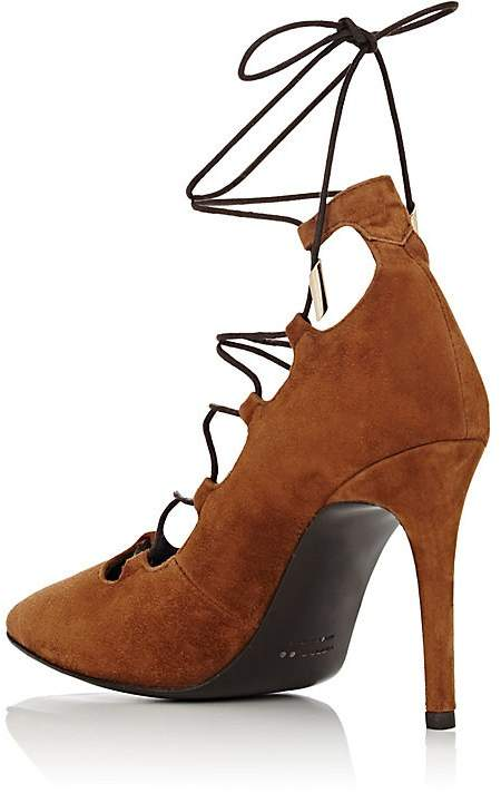 Barneys New York WOMEN'S SUEDE LACE-UP PUMPS