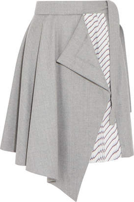 Carven Draped Wool And Striped Satin-twill Mini Skirt - Light gray