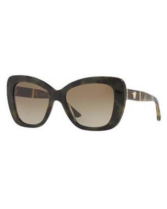 Versace Leather-Trim Squared Cat-Eye Sunglasses, Olive/Brown $265 thestylecure.com