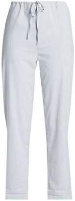 James Perse Pinstriped Cotton-Blend Seersucker Straight-Leg Pants
