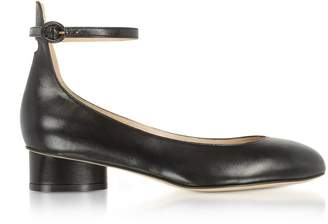 Stuart Weitzman Polly Black Leather Mid-heel Pump