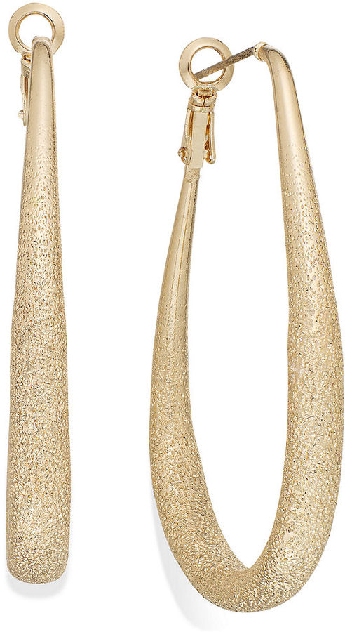 INC International Concepts Gold-Tone Textured Hoop Earrings