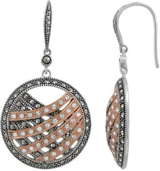 Swarovski Lavish By Tjm Lavish by TJM 14k Rose Gold Over Silver & Sterling Silver Crystal Drop Earrings - Made with Marcasite
