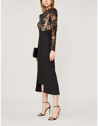 Alexander McQueen Floral lace-trimmed wool dress