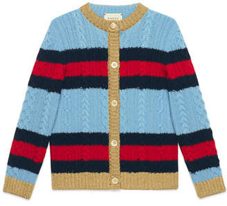 Gucci Striped Web Cable-Knit Sweater, Size 4-12