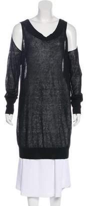 Donna Karan Linen Cold-Shoulder Top