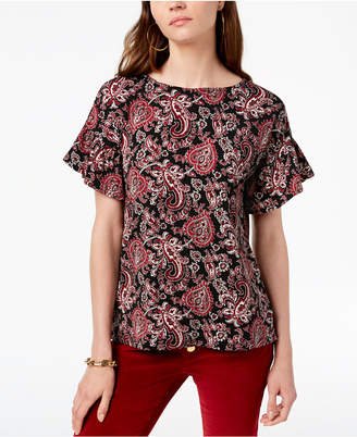 Michael Kors Paisley-Print Flutter-Sleeve Top, In Regular & Petite Sizes