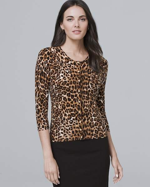 Whbm Three Quarter-Sleeve Leopard-Print Cardigan
