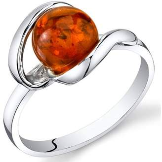Oravo Baltic Amber Open Spiral Engagement Ring in Rhodium-Plated Sterling Silver