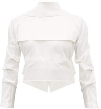 A.W.A.K.E. Mode Gathered Open Back Cotton Shirt - Womens - White