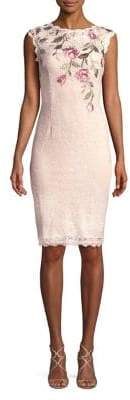 Adrianna Papell Embroidered Short Lace Dress