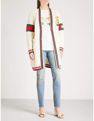Gucci Longline knitted wool cardigan