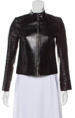 Prada Leather Mock Collar Jacket