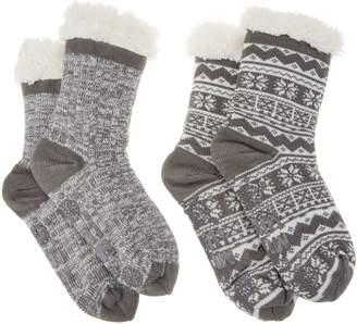 1336ab1bb9b at QVC · Muk Luks Jojoba Faux Shearling Cabin Socks Set of 2