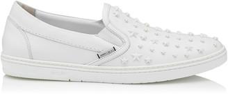 Jimmy Choo GROVE Ultra White Sport Calf with Mixed Stars Slip On Trainers