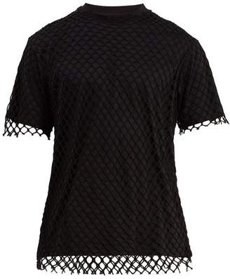 Marques'almeida - Net Overlay Cotton Jersey T Shirt - Mens - Black