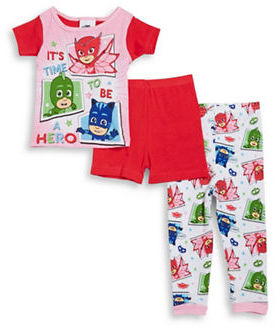 Ame Sleepwear Little Girls PJ Masks Pajama Tee, Shorts and Pants Set $40 thestylecure.com