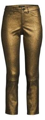 Lafayette 148 New York Women's Mercer Cropped Metallic Leather Skinny Pants - Gold - Size 4