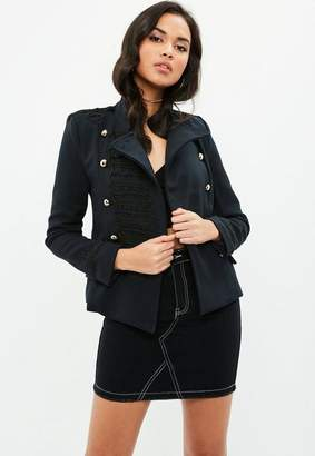 Missguided Navy Military Jacket, Blue