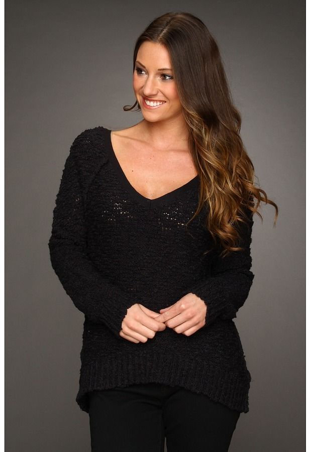 Free People Songbird Pullover (Black) - Apparel