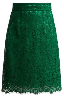 Dolce & Gabbana High Waist Lace Skirt - Womens - Dark Green