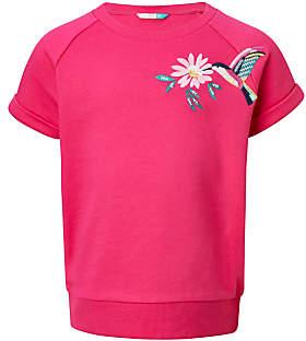 John Lewis Girls' Hummingbird Embroidery Sweatshirt, Fuchsia