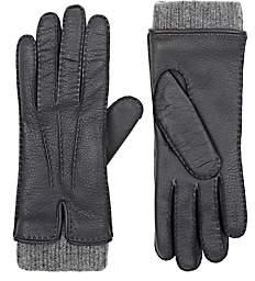 Barneys New York Women's Leather & Cashmere Gloves - Gray