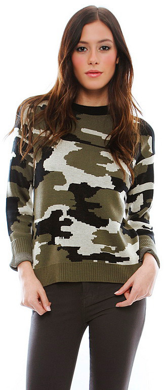 Singer22 Generation Love Ruby Army Camouflage Sweater in Camouflage